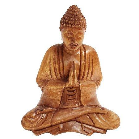 Estátua de Buda Sidarta de Madeira Suar Mudra Oração 20cm