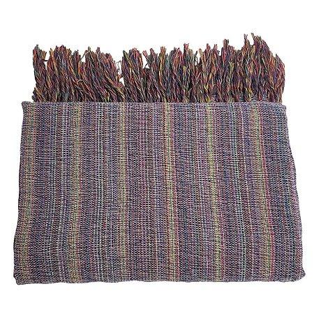 Colcha de Solteiro Tecelada de Algodão Natural Lilás 2.40x1.45m