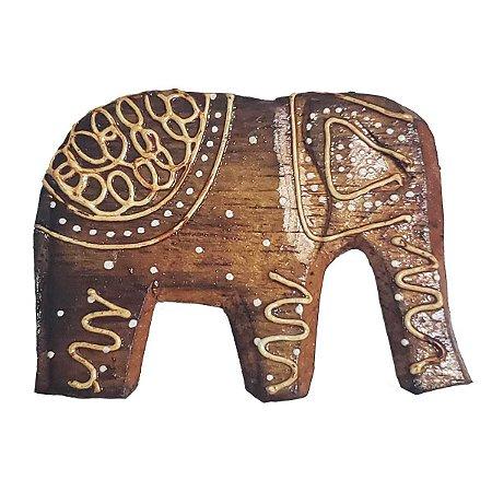 Imã Pintado de Madeira Balsa Elefante Tromba pra Baixo