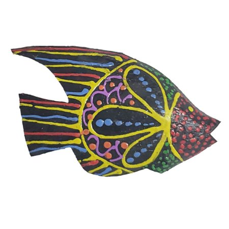 Imã Pintura Dots de Madeira Balsa Peixe