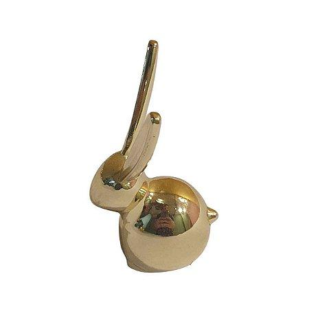 Porta Anel Umbra de Metal Dourado Coelho