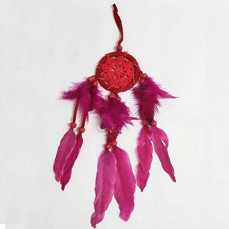 Filtro dos Sonhos de Crochê e Veludo Vermelho 7cm