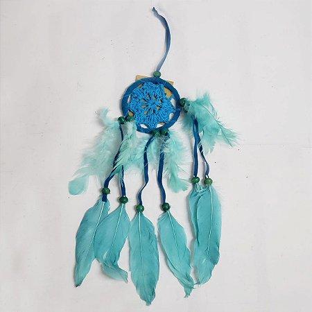 Filtro dos Sonhos de Crochê e Veludo Azul 7cm