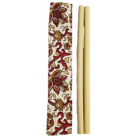 Kit 2 Canudos Bambu e Capinha Protetora 100% Algodão 25cm