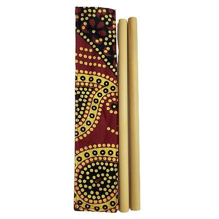 Kit 2 Canudos Bambu e Capinha Protetora 100% Algodão 20cm