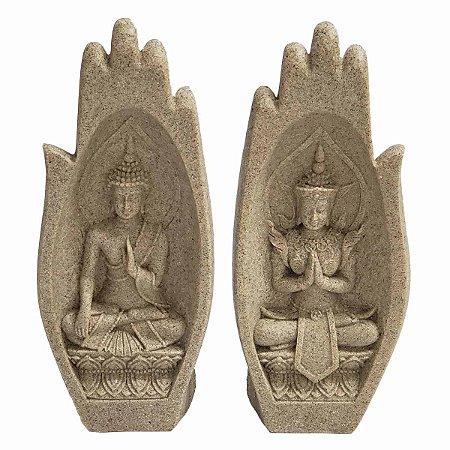 Mãos Decorativas Oração c/ Buda Sidarta Mudra Dar e Receber de Resina Plástica Areia