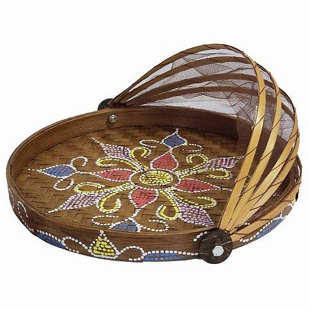 Cesto de Pão de Bambu Pintado Redondo Caramelo c/ Vermelho, Lilás e Azul 24.5cm