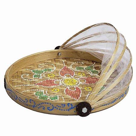 Cesto de Pão de Bambu Pintado Redondo Cru c/ Flor Vermelha e Verde 30cm