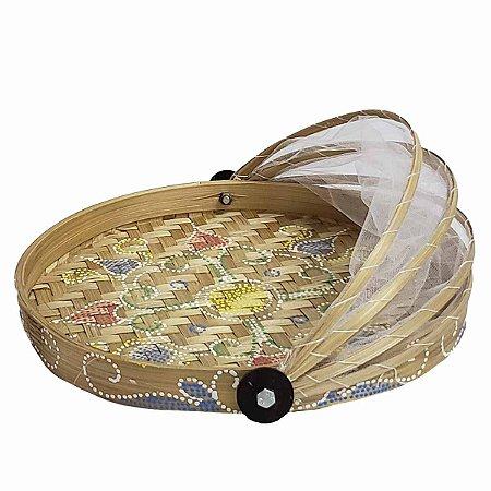 Cesto de Pão de Bambu Pintado Redondo Cru c/ Flor Verde, Vermelha e Azul 24.5cm