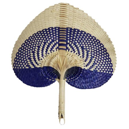 Leque Abano de Palha Cru c/ Azul Caneta 35cm