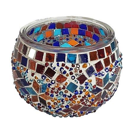 Porta Vela de Vidro Redondo Mosaico Turco (Modelo 1) 10cm
