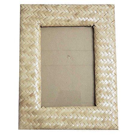Porta Retrato Trançado Palha Natural Bege - 20x25cm