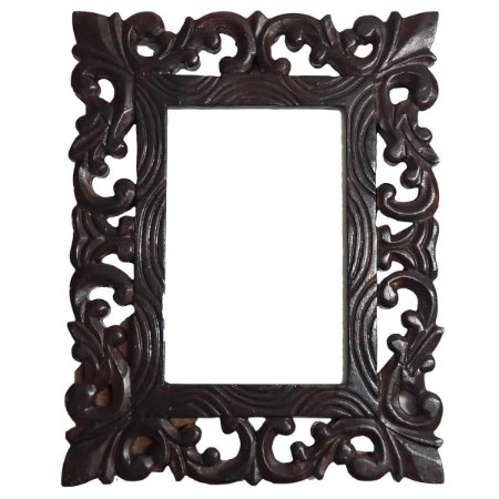 Porta Retrato Arabesque de Madeira em Pátina Marrom Escuro - 10x15cm