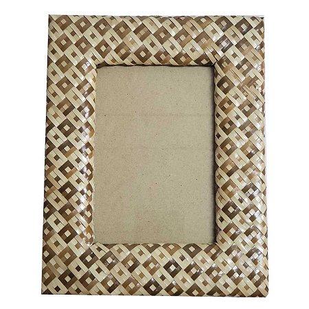 Porta Retrato Trançado Palha Natural 2 Tons - 10x15cm