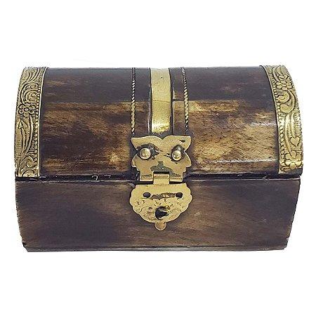 Caixa Decorativa de Osso com Metal 7.5cm