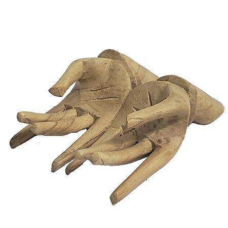 Mãos Decorativas Porta Cartão de Madeira Suar 15cm