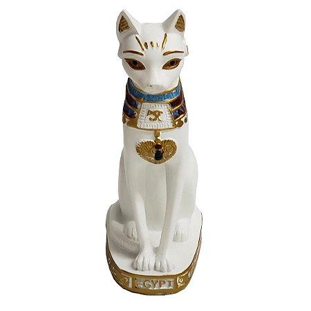 Estátua Gato Egípcio Deusa Bastet de Resina Branca 25cm