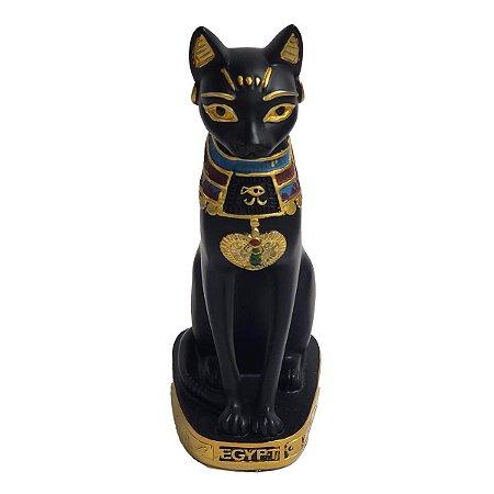 Estátua Gato Egípcio Deusa Bastet de Resina Preta 20cm