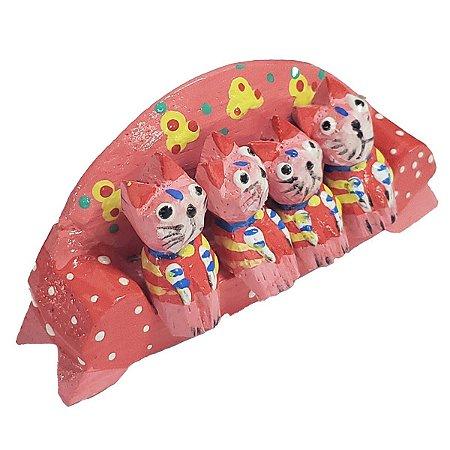 Família Gato Sofá Madeira Balsa Rosa 4cm - 5 peças