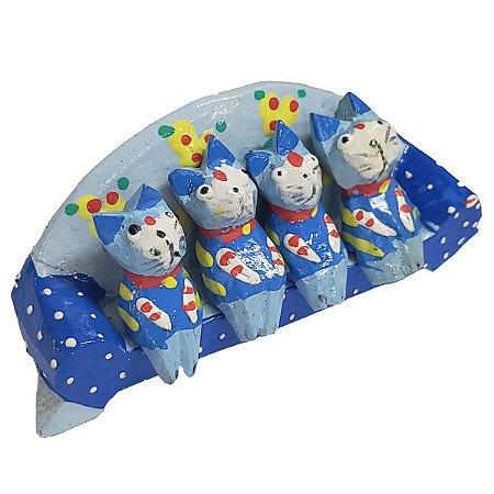 Família Gato Sofá Madeira Balsa Azul 4cm - 5 peças