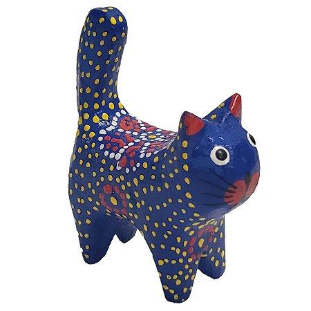 Gato Porta Anel Dots Madeira Balsa azul com flor 10cm