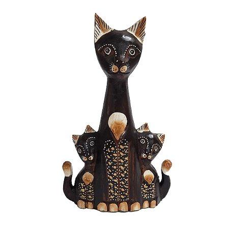 Trio de Gato Acoplado Madeira Balsa 30cm