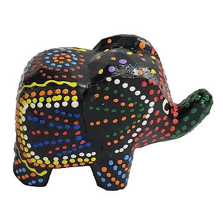 Elefante Madeira Balsa Pintura Dots (Modelo 3) 5cm