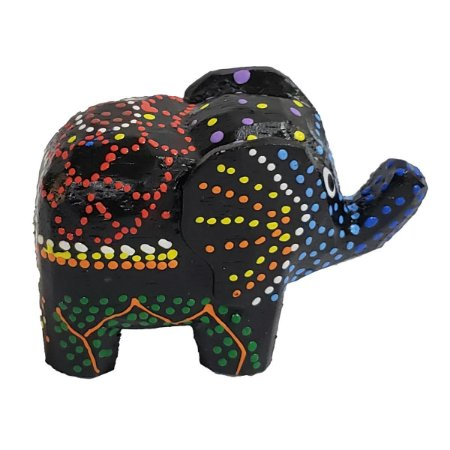 Elefante Madeira Balsa Pintura Dots (Modelo 2) 5cm
