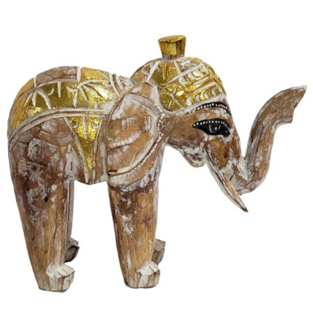 Elefante Madeira Balsa Caramelo com Dourado 26cm