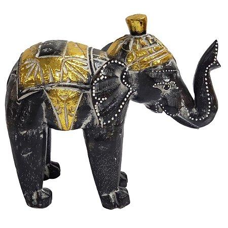 Elefante Madeira Balsa Branco com Preto e Dourado 26cm