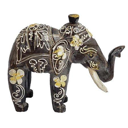 Elefante Madeira Balsa Cinza Chumbo com Flores 21cm