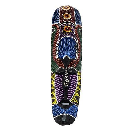Máscara Pintura Aborígene Dots Flor Madeira Balsa Fina 50cm