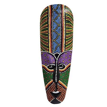 Máscara Pintura Aborígene Dots Gillimanuk Madeira Balsa Larga 50cm