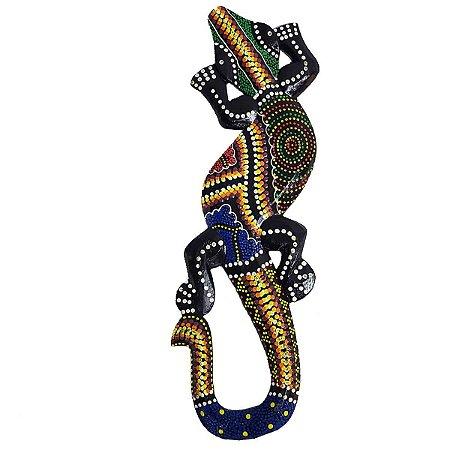 Salamandra Pintura Aborígene Dots Tabanan Madeira Balsa 30cm