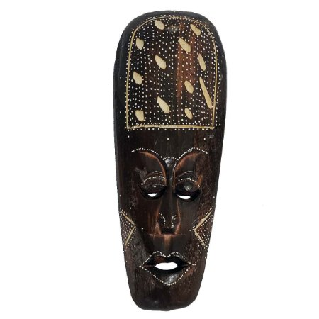 Máscara Entalhada com Pintura Risiko Madeira Balsa Fina 30cm