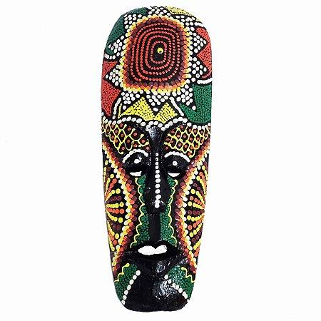 Máscara Pintura Aborígene Dots Plaga Madeira Balsa Fina 30cm