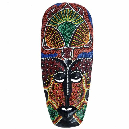 Máscara Pintura Aborígene Dots Tartaruga Madeira Balsa Larga 30cm