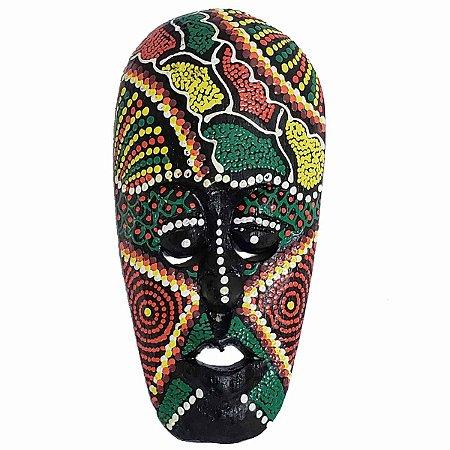 Máscara Pintura Aborígene Dots Bubunan Madeira Balsa Larga 20cm