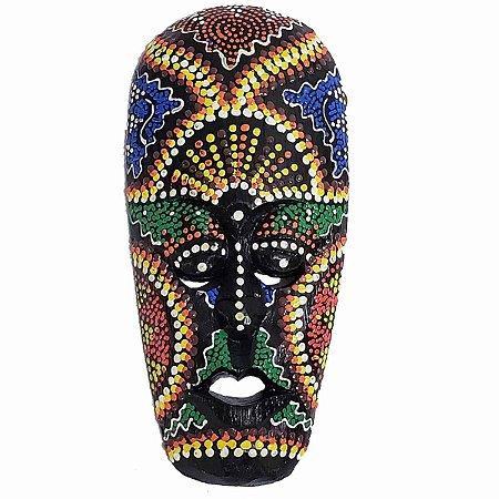 Máscara Pintura Aborígene Dots Selemadeg Madeira Balsa Larga 20cm