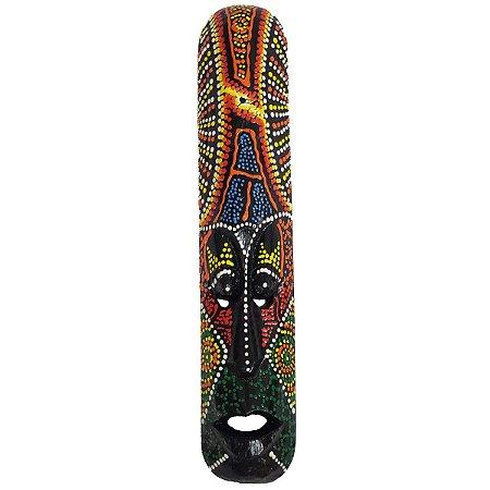 Máscara Pintura Aborígene Dots Madeira Fina (CORES VARIADAS) 25cm