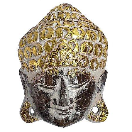 Máscara Cabeça de Buda de Madeira Balsa Branca com Dourado 15cm