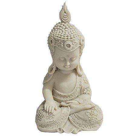 Estátua de Baby Buda de Pó de Mármore Branco 22cm