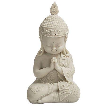 Estátua de Baby Buda de Pó de Mármore Branca Mudra Oração 26cm