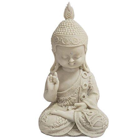 Estátua de Baby Buda de Pó de Mármore Branca Mudra Dar e Receber 26cm