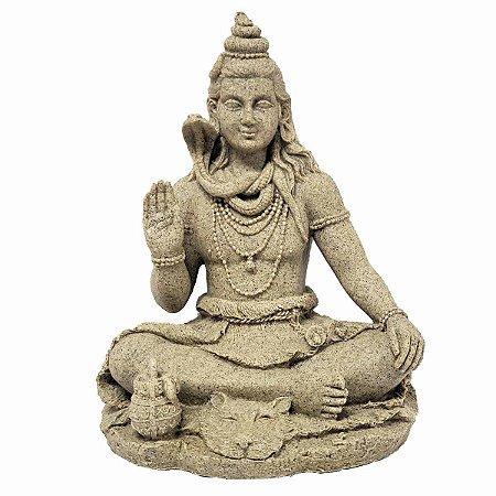 Estátua de Shiva com Base de Resina Plástica Areia 20cm
