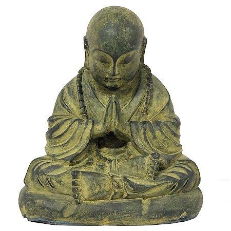Estátua Monge Mudra Oracão de Resina Verde 10.5cm