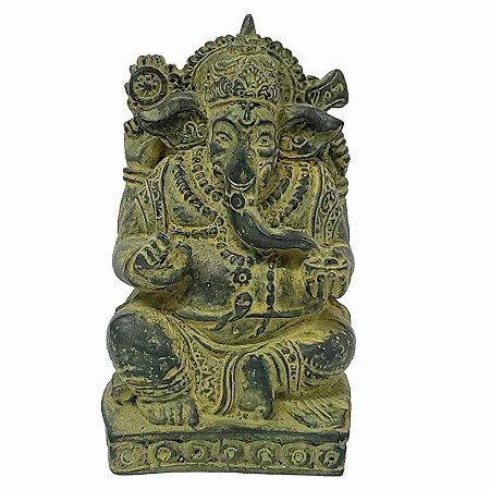 Estátua de Ganesha com Base de Resina Verde 14cm