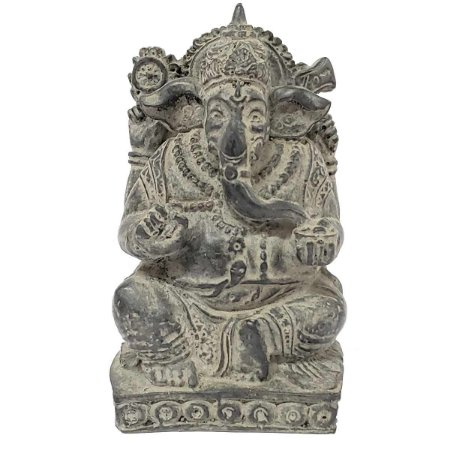 Estátua de Ganesha com Base de Resina Cinza Chumbo 14cm