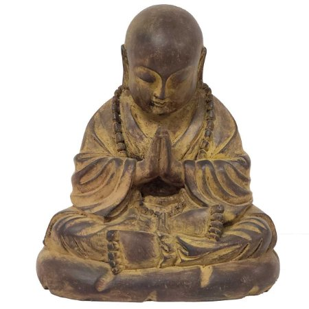 Estátua Monge Mudra Oracão de Resina Marrom 22cm