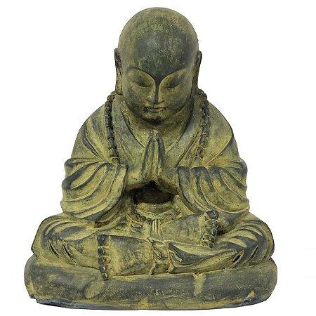 Estátua Monge Mudra Oracão de Resina Verde 22cm